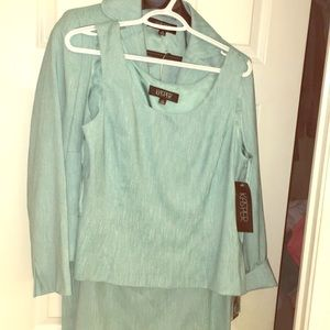 3 piece skirt suit size 12 mint green
